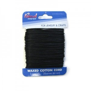 2mm Black Waxed Cotton Cord 15m (49.2ft) X 6 Cards