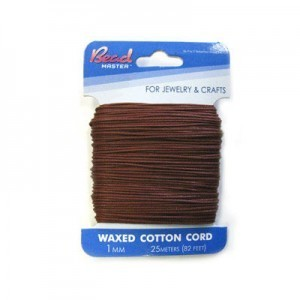 2mm Brown Waxed Cotton Cord 10m (32.8ft) X 6 Cards