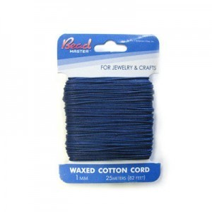 1mm Dark Blue Waxed Cotton Cord 25m (82ft) X 6 Cards