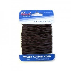 2mm Dark Brown Waxed Cotton Cord 10m (32.8ft) X 6 Cards
