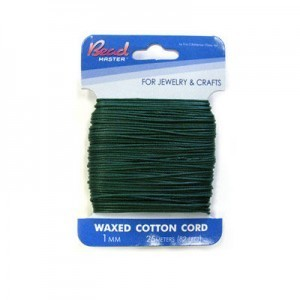 2mm Dark Green Waxed Cotton Cord 15m (49.2ft) X 6 Cards