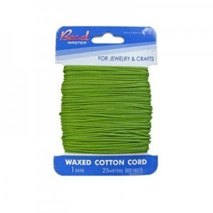 1mm Green Waxed Cotton Cord 25m (82ft) X 6 Cards