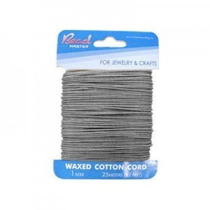 1mm Grey Waxed Cotton Cord 25m (82ft) X 6 Cards