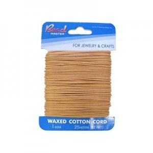 1mm Light Brown Waxed Cotton Cord 25m (82ft) X 6 Cards