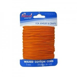 1mm Orange Waxed Cotton Cord 25m (82ft) X 6 Cards