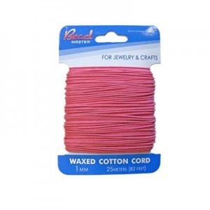 1mm Pink Waxed Cotton Cord 25m (82ft) X 6 Cards