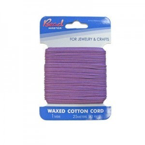 1mm Purple Waxed Cotton Cord 25m (82ft) X 6 Cards