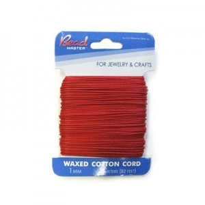 1mm Red Waxed Cotton Cord 25m (82ft) X 6 Cards