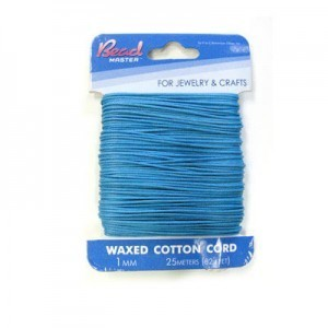 2mm Turquoise Waxed Cotton Cord 15m (49.2ft) X 6 Cards