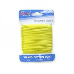 1mm Yellow Waxed Cotton Cord 25m (82ft) X 6 Cards