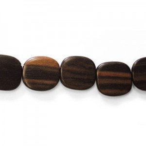 25x25mm Tiger Flat Square Disk Top Drilled Kamagong Wood Beads 16 Inch Strand (Approx. 16 Beads)