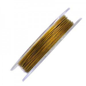 .015 Inch (0.38mm) Gold 7 Strand Tiger Tail Wire 6 Spools of 32ft (10m)