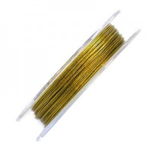 .015 Inch (0.38mm) Yellow Gold 7 Strand Tiger Tail Wire 6 Spools of 32ft (10m)